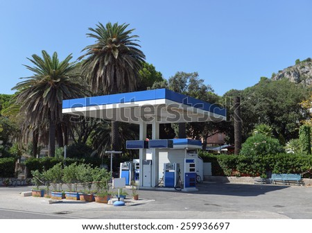 gas station in the southern European city - stock photo
