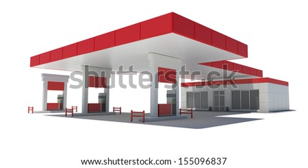 Gas Station. Isolated render on a white background - stock photo