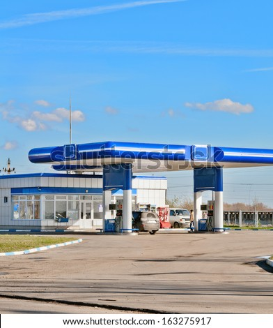 gas station on a background sky - stock photo