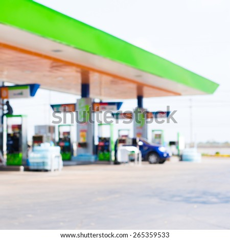Gas station,photo from blur lens. - stock photo