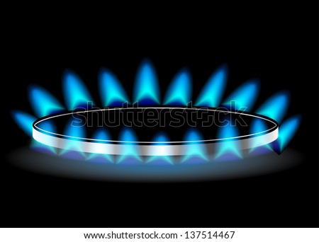 Gas stove burner illustration over dark - stock photo