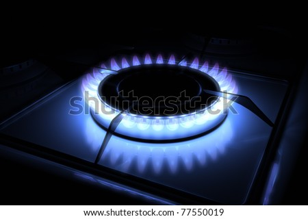 Gas stove burner with blue flame 3d model 300 D.P.I - stock photo