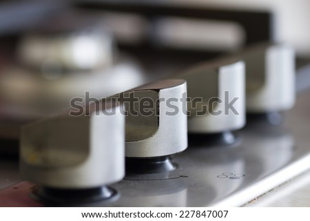 Gas stove in the kitchen - stock photo