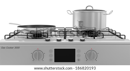 Gas Stove with Pans isolated on white background - stock photo