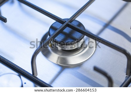 gas stove without a fire - stock photo