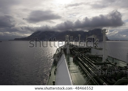 Gas tanker LNG near Gibraltar - stock photo