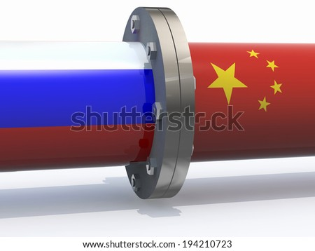 gas tubes with russian and china flag, business partnership concepts - stock photo