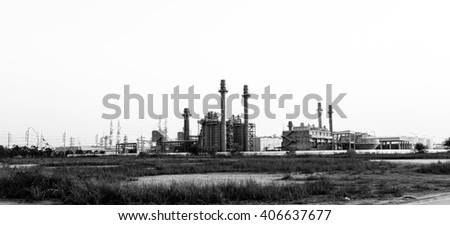 Gas turbine electrical power plant in black and white - stock photo