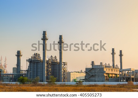 Gas turbine electrical power plant with evening sky - stock photo
