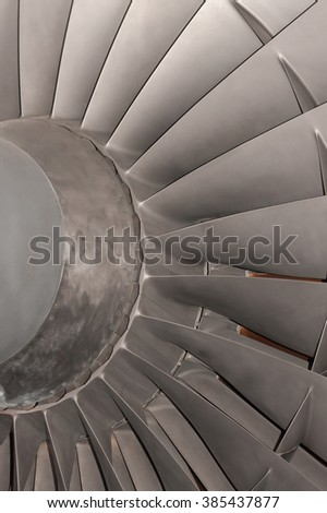 Gas turbine or aircraft jet engine compressor blades close up detail - stock photo