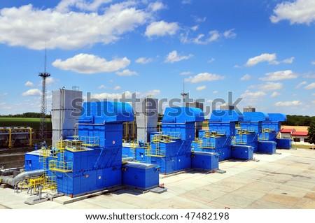 Gas turbines - stock photo