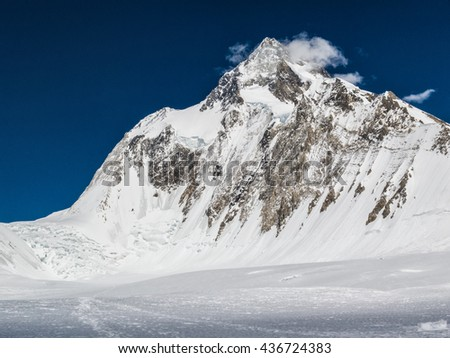 Gasherbrum I seen from Camp I on South Gasherbrum Glacier  - stock photo