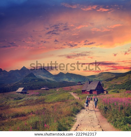 Gasienicowa Valley in Tatra Mountains, vintage look - stock photo