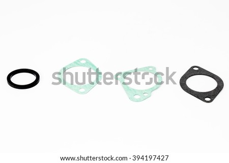 Gaskets Engine Part Isolated On White - stock photo