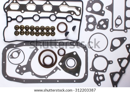 Gaskets for motor on a white background. Spare parts for auto gasket. Spare parts for shop, aftermarket, OEM. Gasket with spare parts. New auto parts spare parts for shop gasket. - stock photo
