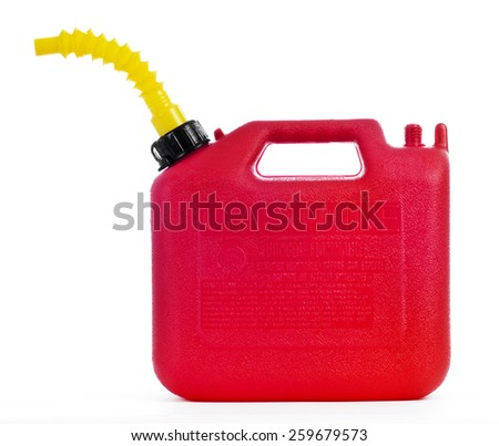 Gasoline Can Red Isolated On White Background - stock photo