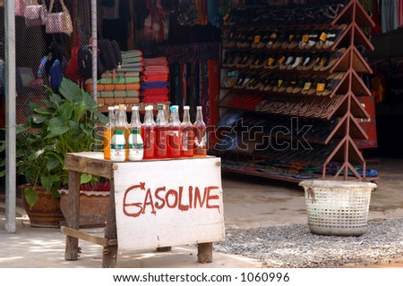 Gasoline for Sale - Thailand (image contains noise) - stock photo