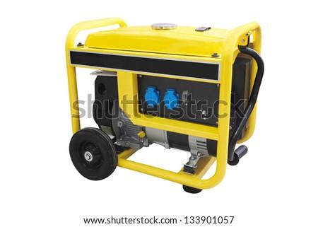 gasoline generator under the white background - stock photo