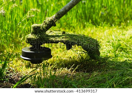 Gasoline lawn trimmer mows juicy green grass on a lawn on a sunny summer day. Close-up selective focus image. Powered garden equipment in the blurry green background. - stock photo