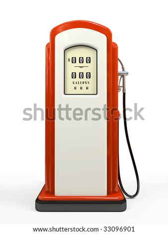 Gasoline pump isolated on white background 3D rendering - stock photo