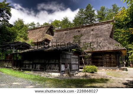 Gassho-zukuri style houses at Hida No Sato open air museum, Takayama, Japan - stock photo