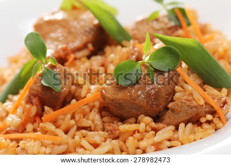 Gastronomy. Delicious food on a dish - stock photo