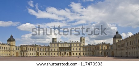 Gatchina, Russia, palace of king Pavel I in surroundings of St. Petersburg. - stock photo