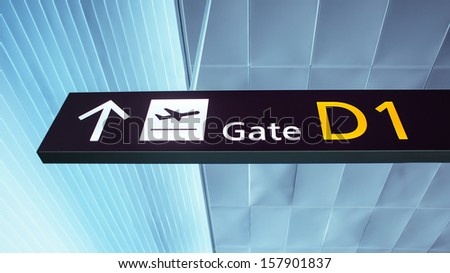 Gate D1. Sign in ukrainian airport. Interior of the airport. - stock photo