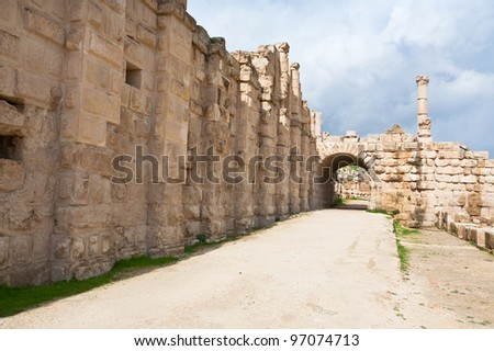 Gate in Large South Theatre - in antique town Jerash, Jordan - stock photo
