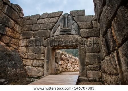 Gate in Mycene, Peloponnese, Greece - stock photo