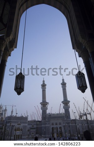 Gate number one Babul King Abdul Aziz seen from entrance to Makkah Royal Clock Tower, in Mecca, Saudi Arabia - stock photo