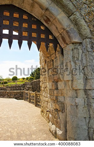 Gate of Leeds Castle in Kent in England. The castle was built in the twelfth century as a king residence. Now it is open to the public. - stock photo