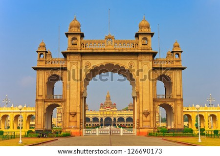 gate of the famous Mysore Palace - stock photo