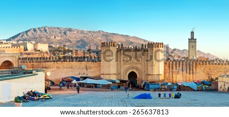 Gate to ancient medina of Fez, Morocco - stock photo