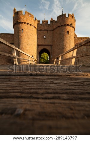 Gate to Dutch Castle Doornenburg. Low angle view of drawbridge. - stock photo