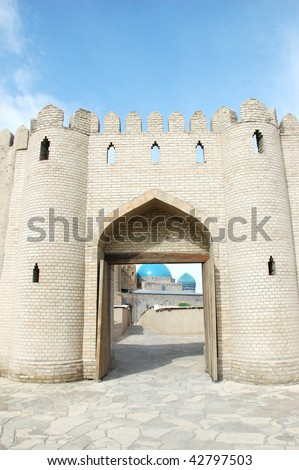 Gate to the fortress in Turkestan - stock photo