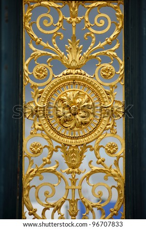 Gates of Jardin des Tuileries Gardens, Paris, France. Useful file for your brochure about france, its culture and architecture. - stock photo