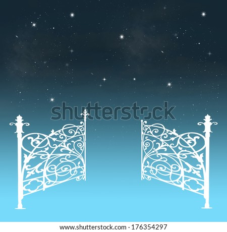 Gates opening to a beautiful nightly sky with stars - stock photo
