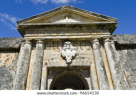 Gates portico of El Morro Fort in Old San Juan - stock photo