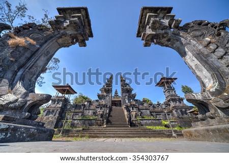 Gates to Pura Besakih Balinese temple - stock photo