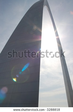 Gateway Arch in St. Louis with Sun Flare - stock photo