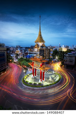 gateway china-town golden Buddha temple Bangkok Thailand at twilight night time - stock photo