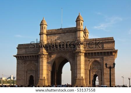 Gateway to India at Sunset, Mumbai, India. - stock photo