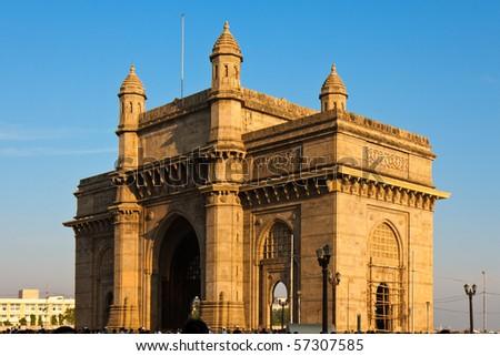 Gateway to India in Warm afternoon light, Mumbai. - stock photo