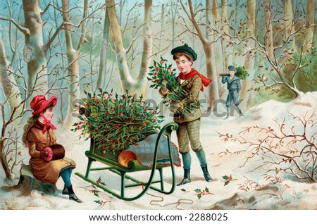Gathering Christmas Holly - an early 1900's vintage 'Currier and Ives' type illustration - stock photo