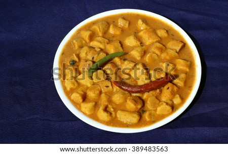 Gatta curry or gatte ki sabji or gatte ki saag - Indian style tasty curry - stock photo