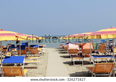Gatteo beach on the Adriatic sea in Italy  - stock photo