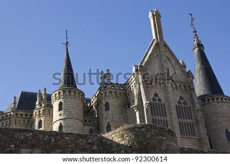 Gaudi palace (Astorga, Spain) - stock photo
