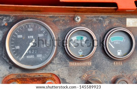 Gauge the heat level and fuel level. - stock photo