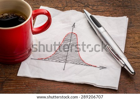 Gaussian (bell) curve or normal distribution graph on white napkin with a cup of coffee - stock photo